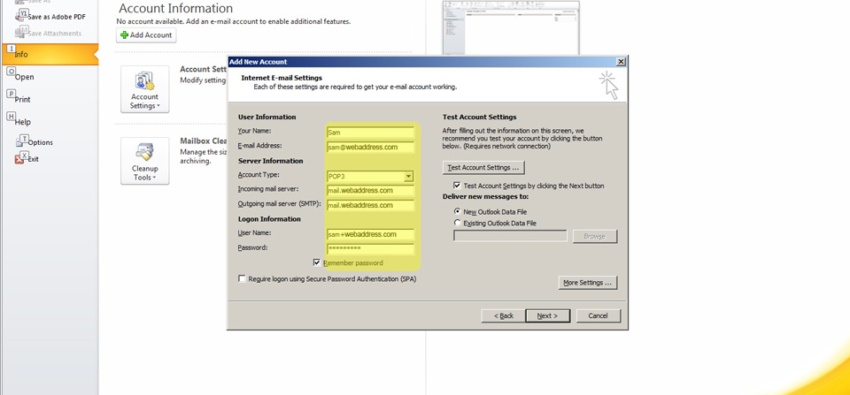 Outlook Email Setup