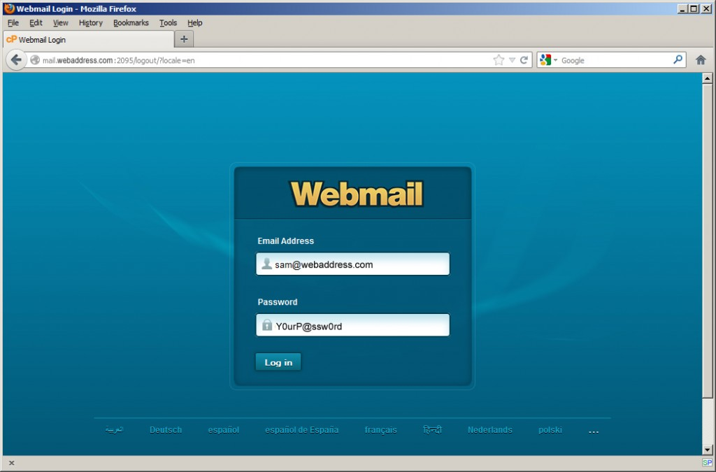 Web Mail Log In Window
